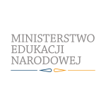 Zdjęcie przedstawia logotyp Ministerstwa Edukacji Narodowej - napis i pod napisem linia prosta, kształt owalny zakończony ostrym końcem, ten sam kształt oraz linia prosta.