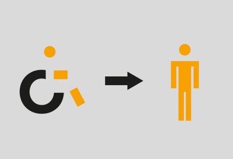 Ilustracja przedstawia symbol człowieka na wózku, obok strzałkę wskazującą na stojącego ludzika.