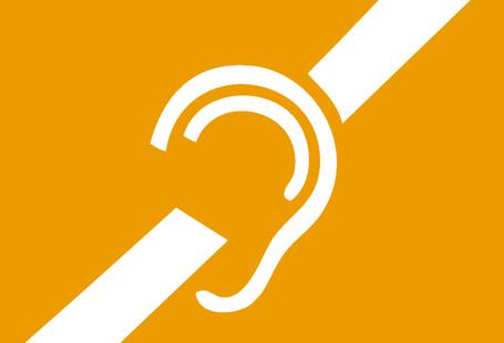 Ilustracja przedstawia symbol osób niesłyszących - ucho z odchodzącymi o niego po przekątnej liniami.