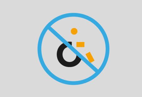 Ilustracja przedstawia przekreślony symbol wózka inwalidzkiego.
