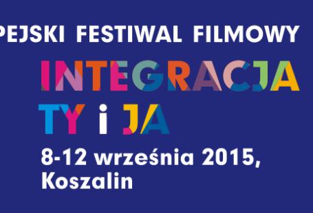 Ilustracja to baner reklamujący festiwal. Znajduje sie na nim napis Europejski Festiwal Filmowy, a pod nim Integracja Ty i Ja, a po prawej biała sylwetka osoby na wózku, a która są wpisane taśmy filmowe.