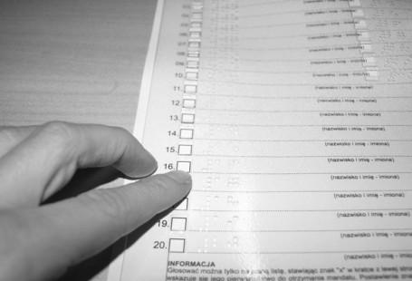 Zdjęcie przedstawia nakładkę brajlowską, nałożoną na kartę do głosowania.
