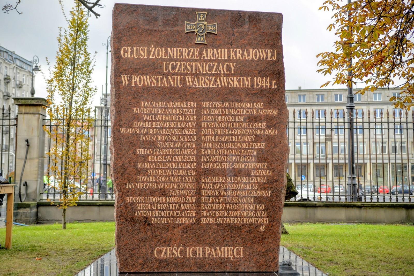Pomnik niesłyszących żołnierzy walczących w powstaniu warszawskim