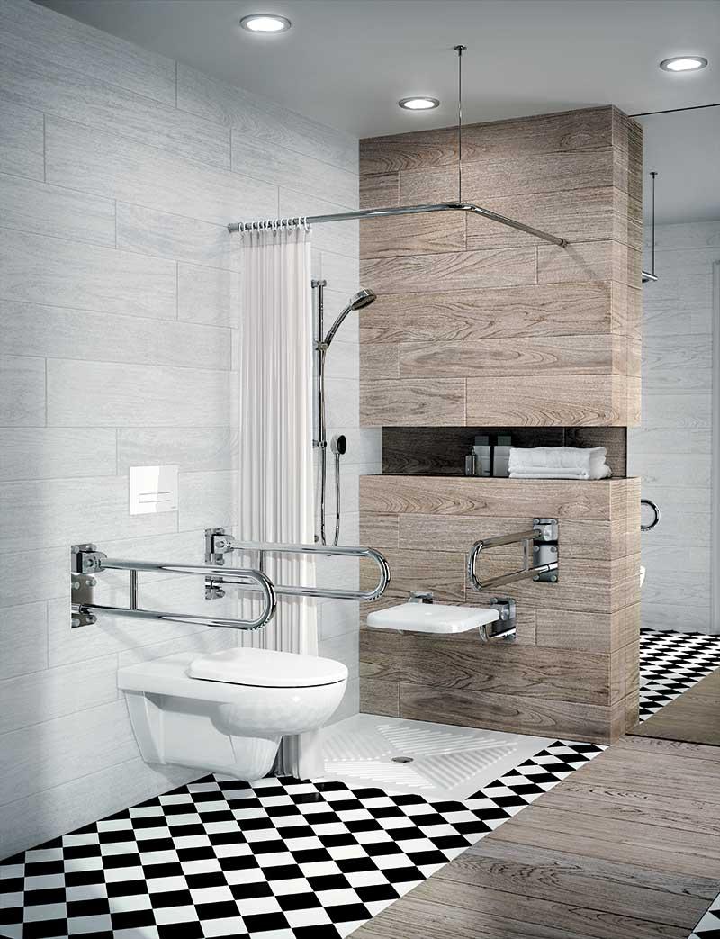 Dostosowana łazienka dla niepełnosprawnych, Koło, Lehnen