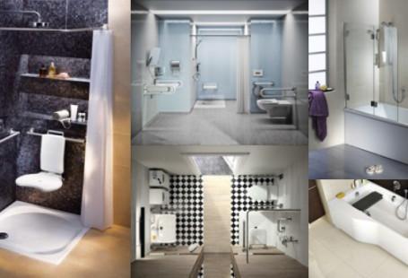 Zestawienie zdjęć przyjaznych dla niepełnosprawnych łazienek zrobionych przez KOŁO i LEHNEN