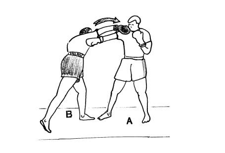 Ilustracja pochodzi z podręcznika nauki boksu. Dwaj mężczyźni walczą - mężyzna z lewej zadaje cios mężczyźnie z prawej strony.