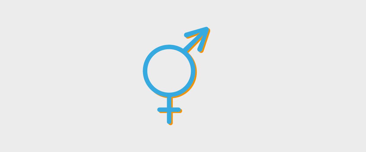Ilustracja przestawia połączone symbole męskości i kobiecości w jeden symbol. Na środku płaszczyzny znajduje się koło, od góry lekko po prawej ochodzi od niego strzałka skierowana ku górze. U dołu, na osi odchodzi od koła krzyżyk.