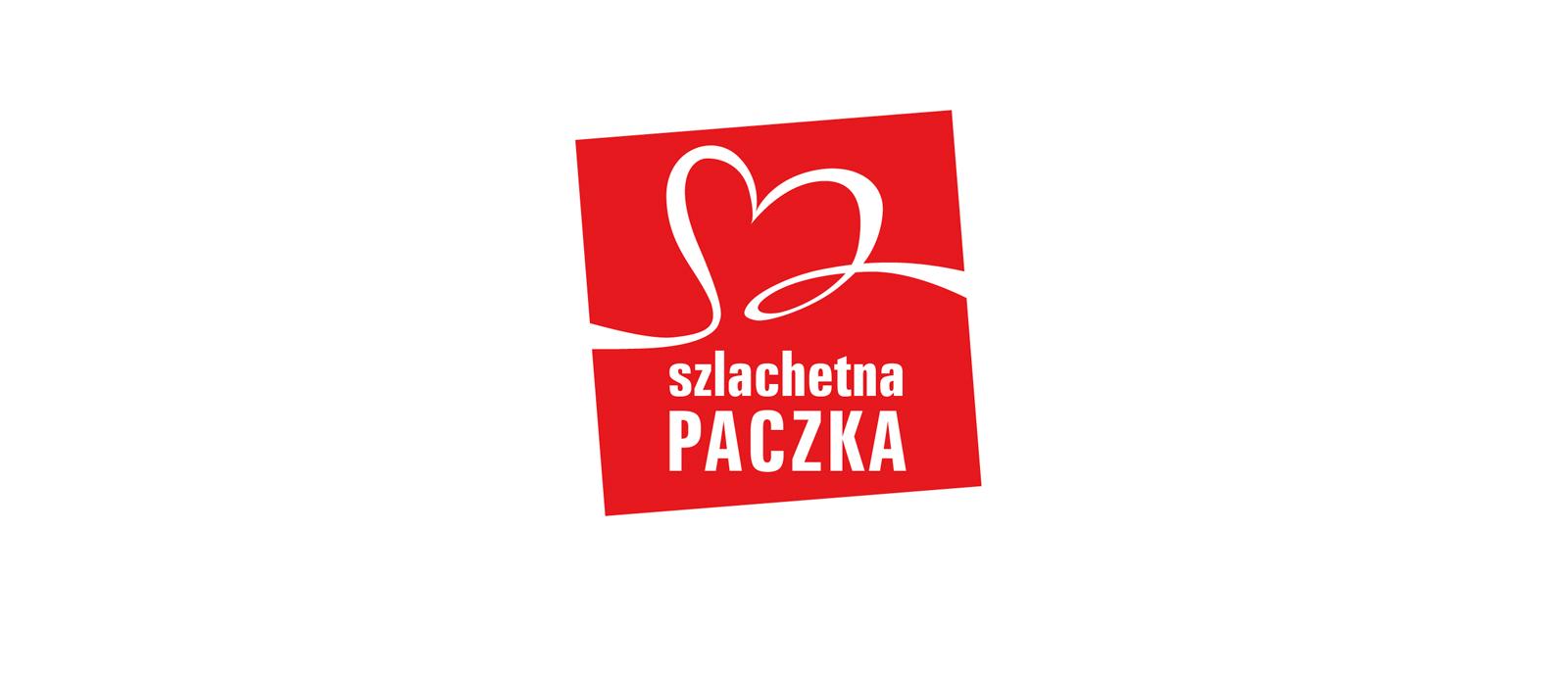 Logo Szlachtnej Paczki, to przekrzywiony lekko czerwony kwadrat, ze wstążeczką w kształcie serca oraz napisem Szlachetna Paczka.