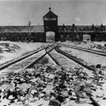 Zdjęcie przedstawia bramę wjazdową do obozu Auschwitz II (Brzezinka). Widać tory kolejowe, które prowadzą do bramy w oddali.