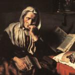 Obraz przedstawia starą, drzeniącą kobietę. Staruszka siedzi, w ręku trzyma książkę, na głowie ma chustę. Obraz jest utrzymany w ciemnej tonacji, jasna jest chusta oraz książki. Jedna na kolanach, a druga na stole obok siedzącej.