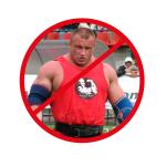 Zdjęcie przedstwaia Mariusza Pudzianowskiego na zawodach. Jest w kształcie koła, która ma czerwoną ramkę i przekreślenie na czerwono.