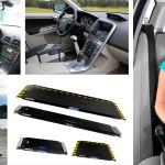 """Zdjęcie jest złożone z 5 fotografii, któe pokazują różne dopasowania w dla osób niepełnosprawnych w samochodach. Po lewej strony u góry znajduje się dwa ujęcia na wnętrze samochodu, w jednym z nich siedzi męczyzna. W samochodzie znajduje się """"gałka"""" na kierownicy oraz długio, wydłużony drążek w desce rodzielczej. Poniżej znajduje się zdjęcie kobiety wjeżdzającej na desce z tworzywa nałódkę. Po prawej znajduje się zdjęcie dziewczynki siedzącej w specjalnym folteliku z pasami."""