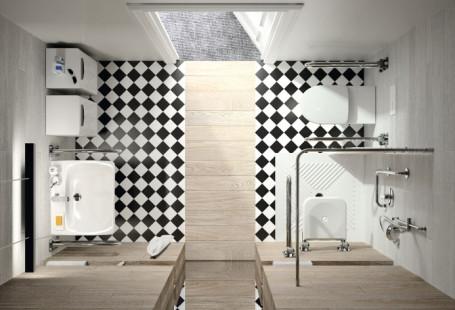 Zdjęcie przedstawia widok łazienki od góry, na podłodze są czarno-białe kafelki, z lewej strony znajduje się umywalka, z prawej strony prysznic oraz toaleta.