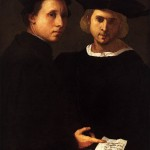 Obraz pochodzi z 16 wieku, przedstawia dwóch mężczyzn ubranych na czarno w czarnych czapkach z epoki. Mężczyźni patrzą się w stronę widza, obaj dotykają kartki z tekstem.