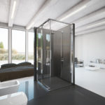 Zdjęcie przedstawia minimalistyczną, elegancką łazienkę z zastosowaną w aranżacji kabiną koło ultra.