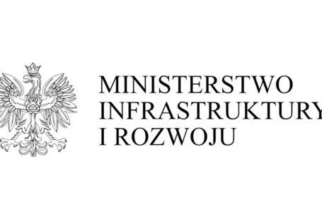 Z lewej strony znajduje się godło polski orzeł z koroną, po prawej napis Ministerstwo Infrastruktury i Rozwoju.