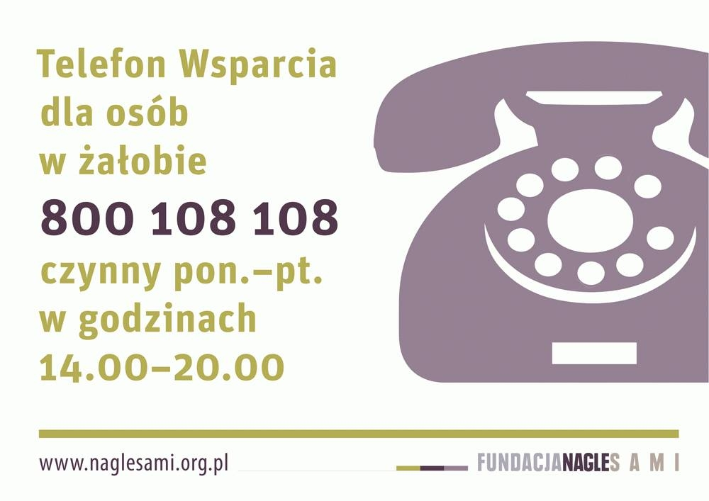 plakat z opisem: Telefon Wsparcia dla osób w żałobie 800 108 108