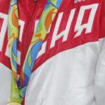 Zdjęcie przedstawia zbliżenie na rosyjski strój olimpijski