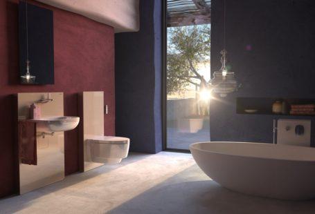 Wizualizacja przedstawia łazienkę z zastosowanym systemem Monolit