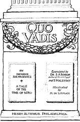Obrazek przedstawia okładkę quo vadis z 1897 roku.