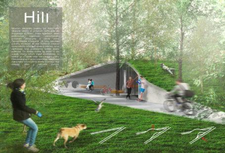 Zdjęcie przedstawia fragment planszy konkursowej. Na wizualizacji widzimy zwycięzki [rojekt toalety. Jest zbudowana z betonu, wpisana w krajobraz. Toaleta jest umieszczona w parku, wokół znajdują się ludzie i dużo zieleni. Trawa znajduje się również na dachu.