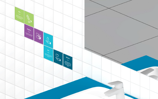 Obrazek przedstawia wizualizację kadru łazienki, dokładnie kawałek umywalki, lustra i naklejek edukacyjnych przyklejonych na płytkach