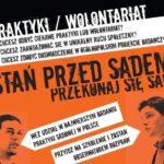 Plakat w odcieniach czerni, bieli i pomarańczu, zachęcający do uczestnictwa w projekcie badawczym praktyki sądowej w Polsce.