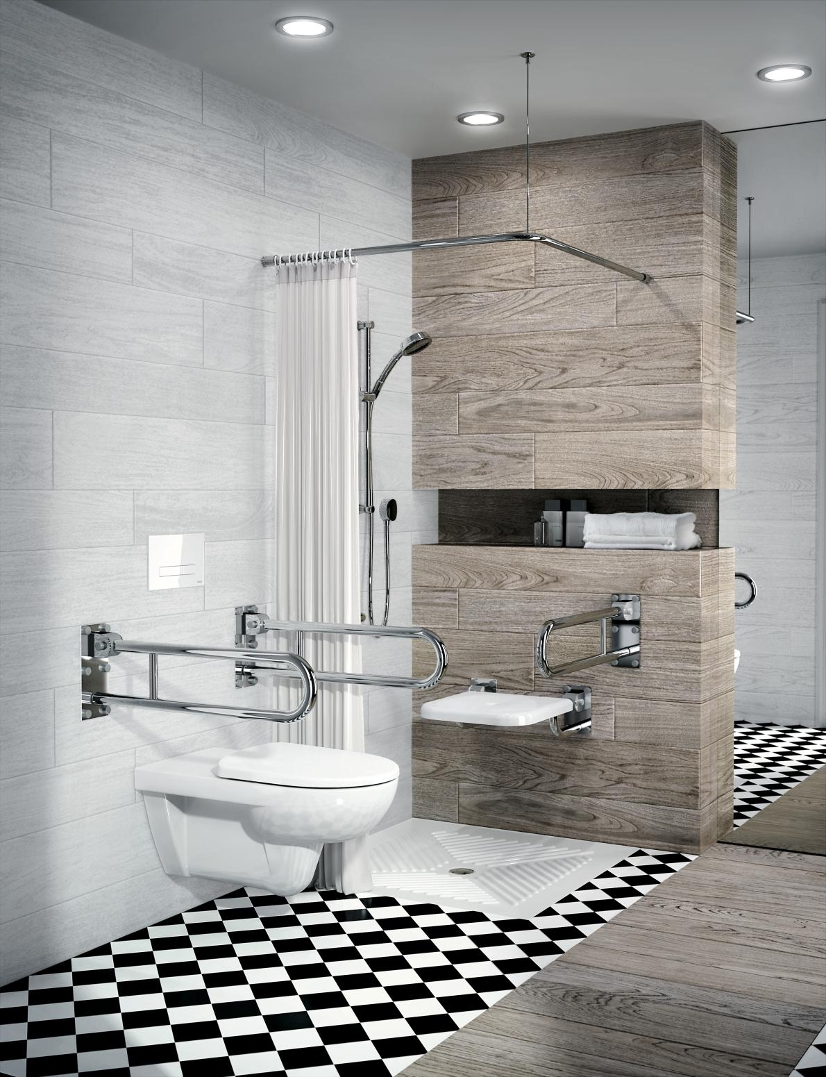 Na zdjęciu widoczna jest piękna, nowoczesna łazienka Geberit z podtrzymaniem dla niepełnosprawnych.