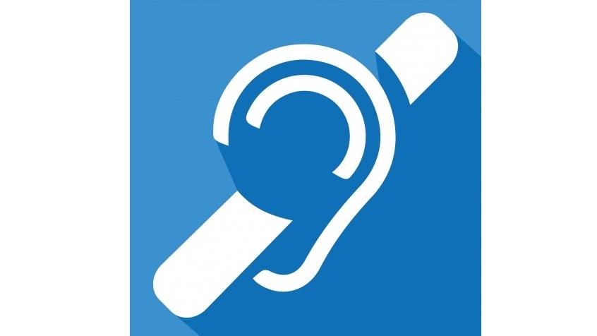 Obrazek przedstawia logo osób niesłyszących, czyli przekreślony biały zarys ucha na niebieskim tle