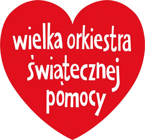 Na obrazku widnieje logo wośp, czyli czerwone serduszko z białym napisem w środku - wielka orkiestra świątecznej pomocy