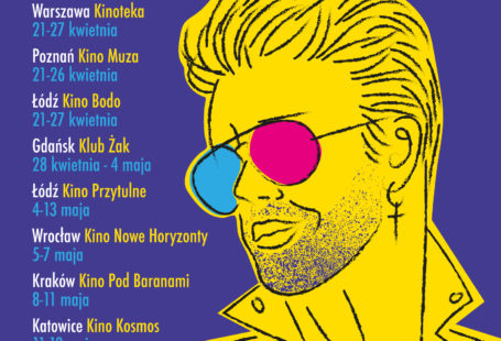 Na obrazku znajduje się plakat promujący festiwal, na fioletowym tle, na srodku znajduje się mężczyzna pokolorowany na żółto, mający na nosie okulary z kolorowymi szkłami, obok wymienione są miejsca i daty wyswietlanych filmów