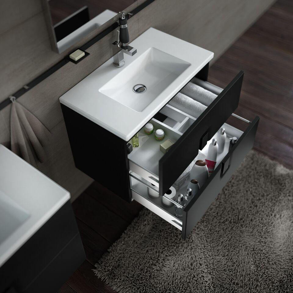 nowoczesna umywalka z szafką twins slims czarną, z odsuniętymi szufladami