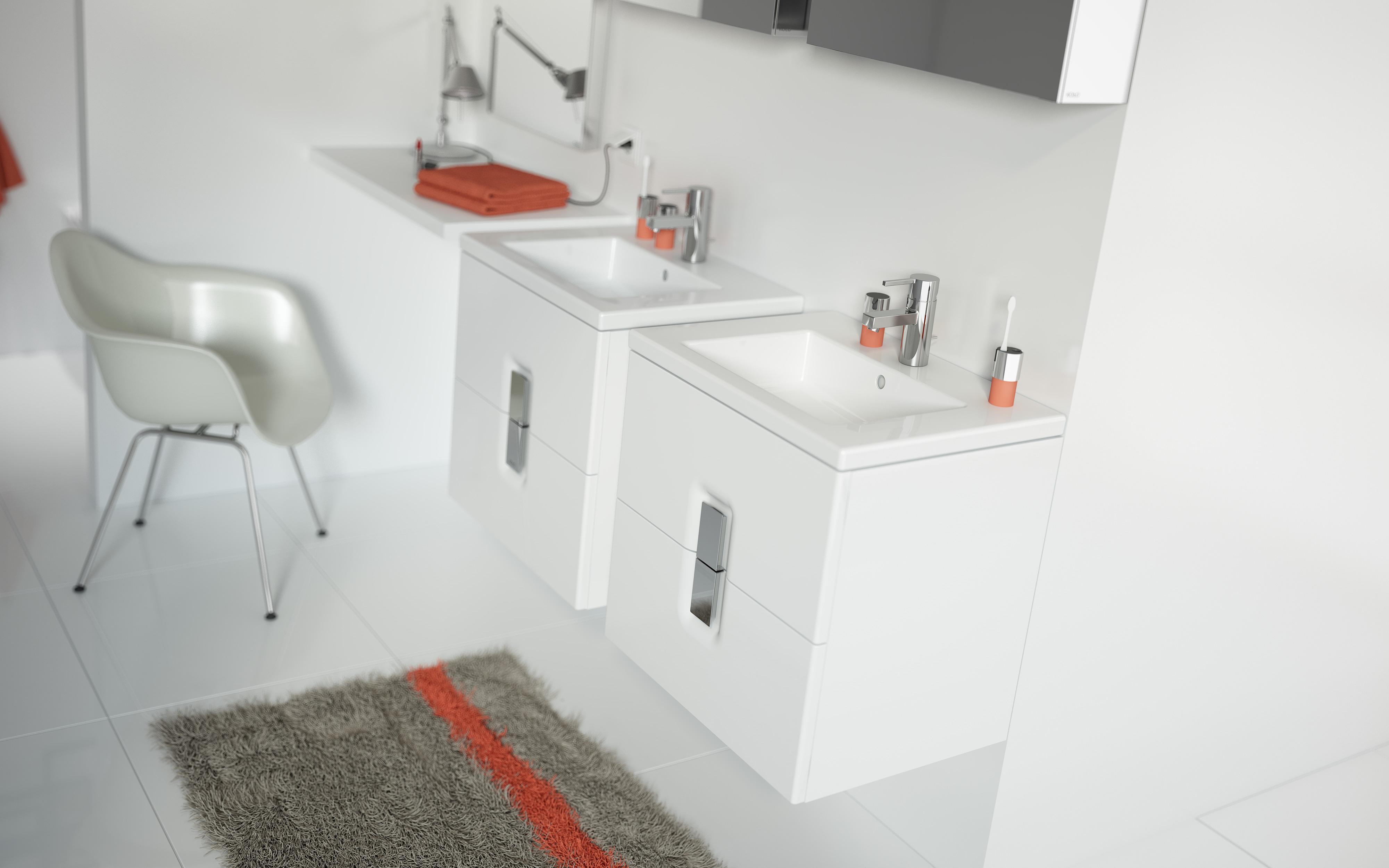 nowoczesne umywalki i szafki koło twins slims białe