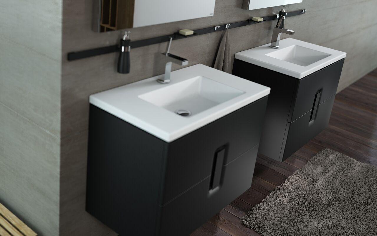 Nowoczesne umywalki i szafki koło twins slim czarne