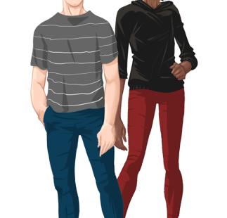 Bohaterowie komiksu Jonah i jego przyjaciółka Kayla Tate. jest to rysunek.