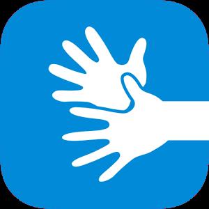 obrazek opisywanej aplikacji, są to białe migające dłonie na niebieskim tle