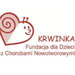 Logo fundacji Krwinka, czyli uśmiechnięty ślimak w kształcie serduszka