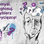 plakat promujący głowsowanie na mural geberit, pomyśl, zagłosuj, wybierz zwycięzcę