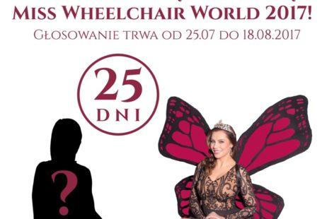 plakat promujący wybieranie finalistki miss na wózku inwalidzkim