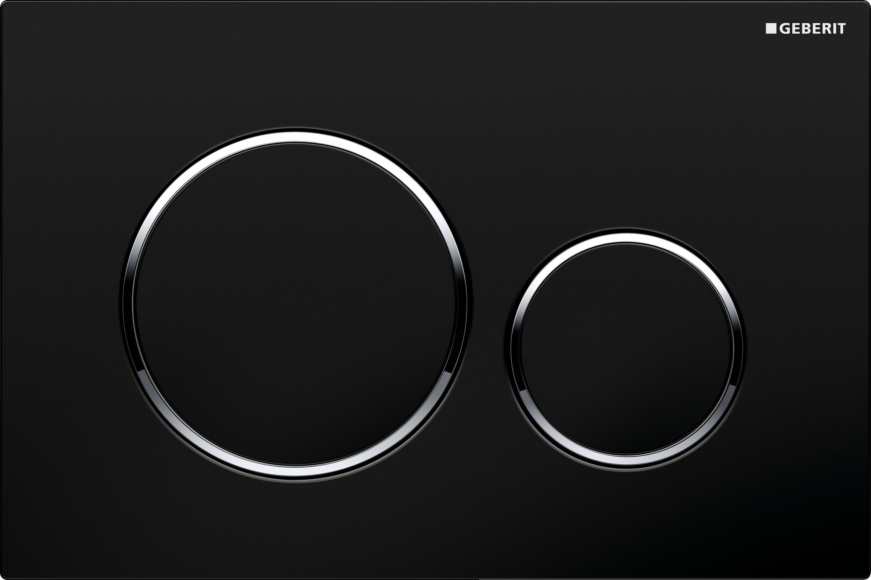 czarna spłuczka Sigma20 black bright chrome black, jest całkowicie płaska z dużym i mniejszym kółkiem