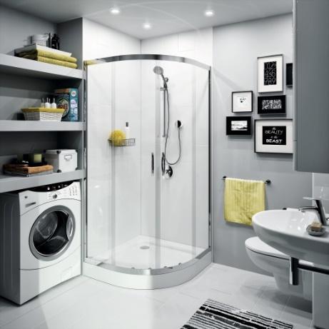 nowoczesna szaro biała łazienka z zaokrąglonym narożnym prysznicem