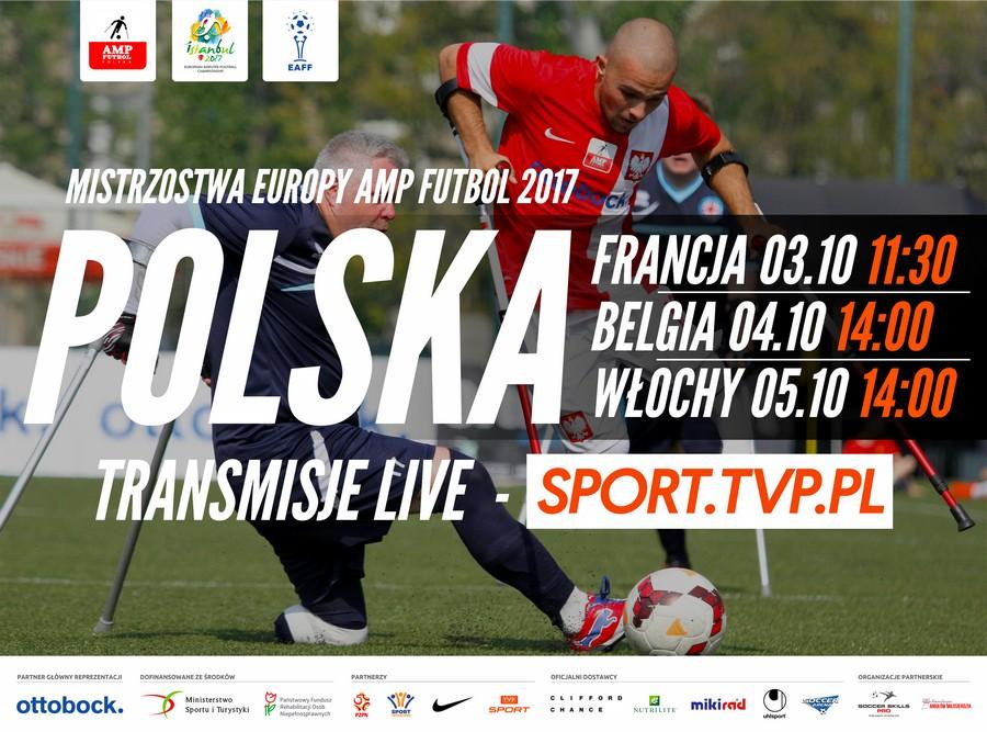 plakat promujący mistrzostwa ampfutbolu w stambule, w tle grający piłkarze a na pierwszym planie daty meczów polaków z francją, belgią i włochami