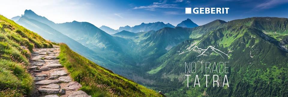 plakat promujący no trace tatra, czyli zdjęcie przedstawiające zapierające dech w piersiach widoki górskich szczytów tatr oraz skalną drogę na szczycie