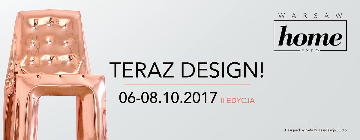 plakat promujący warsaw home expo, teraz design, druga edycja, na plakacie jest miedziane krzesło