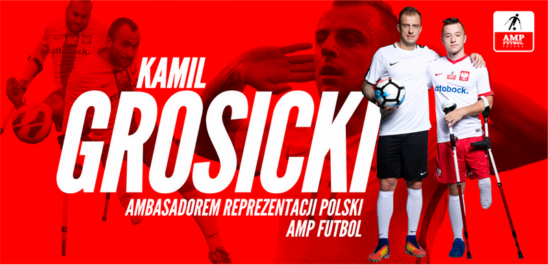 plakat z Kamilem Grosickim ambasador reprezentacji Polski Amp Futbol