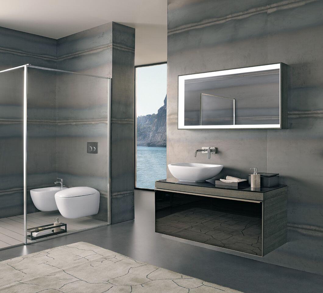 prosta łazienka CIT w odcieniach szarości,