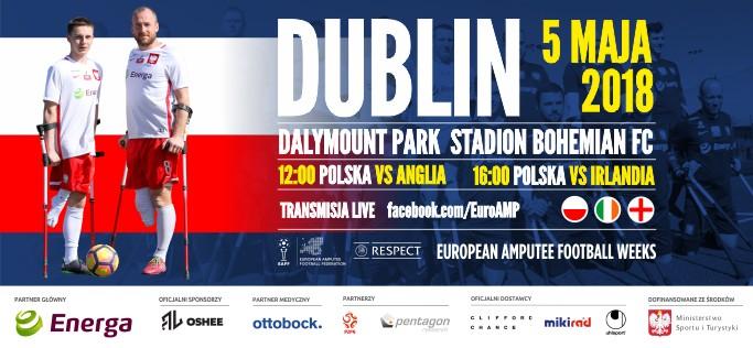 plakat promujący mecz Amp Futbol - turniej w Dublinie