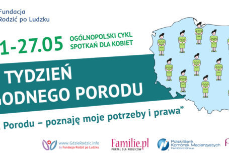 plakat fundacji rodzić po ludzku promujący drugi tydzień godnego porodu