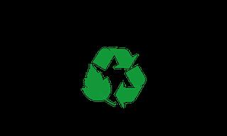 logo segreguję nie widzę przeszkód, czyli czarny zarys oka a w jego środku dwie strzałki i liść oznaczające recykling