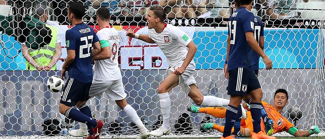 radość Bednarka po strzelonym golu dla Polski w meczu z Japonią